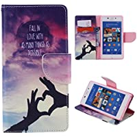 Casefirst Sony Xperia M2 Case, Luxury PU Leather Wallet Flip Protective Falling Case Cover with Card Slots and Stand for Sony Xperia M2 Sky