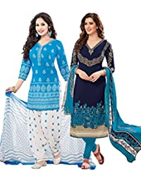 Ishin Women's Synthetic Dress Material (Combodm-611_Multicolor_Free)