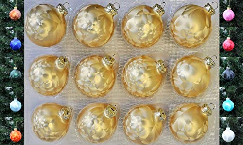Jack 12x Glas Eislack Christbaumkugeln 6cm Thüringer Weihnachtskugeln Kugeln, Farbe:Gold