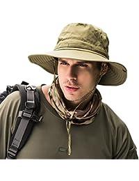 Aesy Sombreros de Pesca, UPF 50+ Protección Solar de Ancho Borde Secado Rápido Impermeable Plegable Sombrero de Sol Al Aire Libre (Verde)