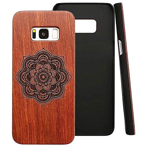 Galaxy S8 Hülle Holz, ZXK CO Echt-Holz Handyhülle Case Schutzhülle mit PC Bumper Hülle Euti für Samsung Galaxy S8 Protective Hardcase mit Holzschnitt Mandala Muster