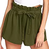 Btruely-Shorts Damen Sommer Kurze Hosen Damen Lässige Design Hohe Taille Lose Modische Shorts Frau mit Gürtel (Asia Größe XL, W- Grün)