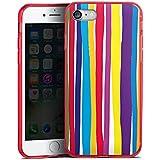 Apple iPhone 7 Silikon Hülle Case Schutzhülle Streifen Farben gestreift