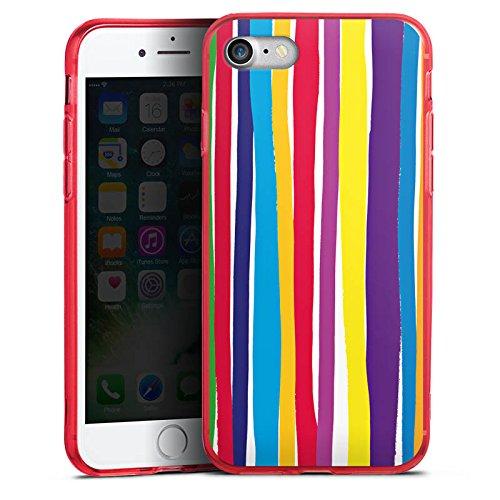 Apple iPhone 7 Silikon Hülle Case Schutzhülle Streifen Farben gestreift Silikon Colour Case rot