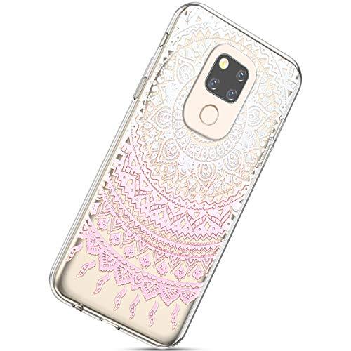 Kompatibel mit Handyhülle Huawei Mate 20 Schutzhülle Transparent Weiche Silikon Durchsichtig Schutzhülle Muster Crystal Silikonhülle Ultradünnen TPU Handy Tasche Stoßfest Bumper Case,Rosa Mandala
