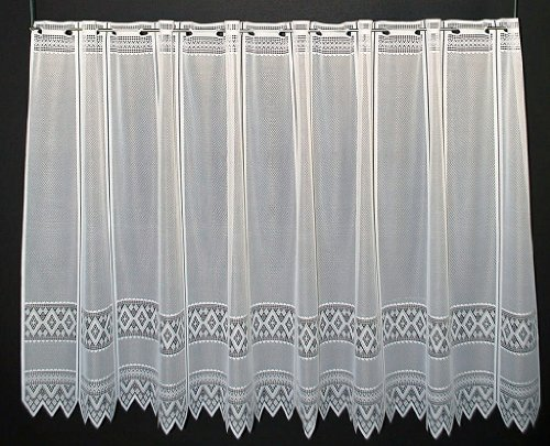 Scheibengardine Jacquard grafisch 90 cm hoch   Breite der Gardine durch gekaufte Menge in 13 cm Schritten wählbar (Anfertigung nach Maß)   Weiß   Vorhang Küche Wohnzimmer