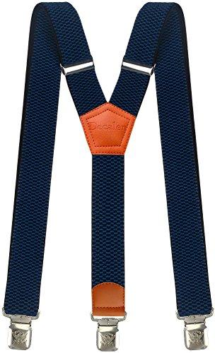 Hosenträger für Herren breit extra starken 4 cm mit 3er Clips Y-Form lange für Männer und Damen Hose alle Farben (Blau 2)