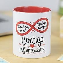 La Mente es Maravillosa | Taza cerámica de café o desayuno | Regalo original para SAN VALENTÍN | Contigo, sí. Contigo, siempre. Contigo, infinitamente | RESISTENTE 100% al microondas y lavavajillas | Taza con frase de amor para pareja | DÍA DE LOS ENAMORADOS | Esmaltado brillante de GRAN CALIDAD | Frases y dibujos creativos grabados en la superficie | Perfecta para cualquier bebida, infusión o té | Contigo