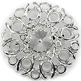 Elixir77UK Brosche Blumen Geschenk Pin Brosche mit großem einfachen Kristall