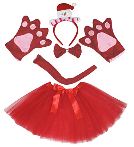 Petitebelle Snowman Costume Headband Gloves Brown Tutu 5pc Set for Lady (One Size) (Schneemann Kostüm Tutu)