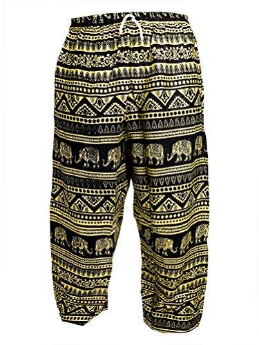leichte Sommerhose mit Elefantendruck - Fair Trade Gold