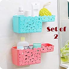 Samplus Mall Wall Mounted Kitchen Sink Bathroom Toiletry Shelf Organizer with Tow Suction Cup, Flower Type Designed (Multi Color)