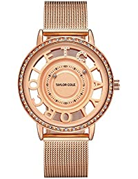 80c18fa5775 Taylor Cole Reloj Mujer de Moda Esqueleto Cuarzo Acero Inoxidable Reloj de  pulsera Oro rosa TC129