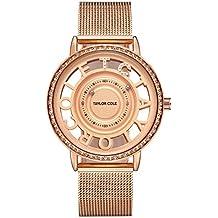 Taylor Cole Reloj Mujer de Moda Esqueleto Cuarzo Acero Inoxidable Reloj de pulsera  Oro rosa TC129 ef35a897f8e9