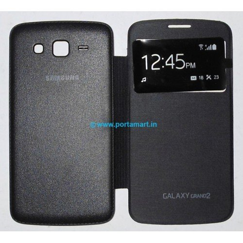 Flip-cover-for-Samsung-Galaxy-Grand-2-G7106G7102-S-View-Black-color