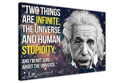 CANVAS IT UP Schwarz Leinwand Wand Art Prints kultigen Albert Einstein Zitat Infinite Dummheit Funny–Print Bilder Wissenschaft Home Decor zum Aufhängen Foto