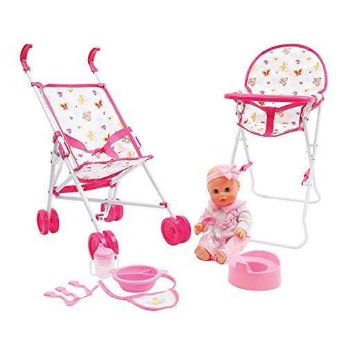Mamatoy MMA05000 – Mama Mia Feed and Stroll around deluxe set, Baby doll that drinks and pees, with doll stroller, doll high chair and feeding accessories