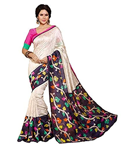 Women's Multi Color Bhagalpuri Silk Saree  available at amazon for Rs.195