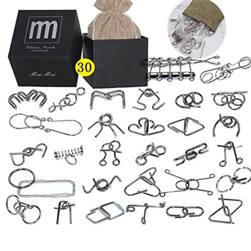 Chonor Mini Denkspiel Knobelspiel Set aus Metall, 30St. Metall-Knobelei IQ Spiele 3D Puzzle Geduldspiele Logikspiele Rätsel Brainteaser Intelligenz Pädagigisches Spielzeug für Kinder und Erwachsene