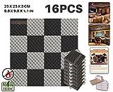 acepunch 16Pack 2Farben Ei Box Noppenschaum Akustikschaumstoff Panel DIY Design Studio Schalldämmung Wand Fliesen Sound Isolierung mit gratis Montage Tabs 25x 25x 3cm ap1052, schwarz / grau, 25 x 25 x 3 cm