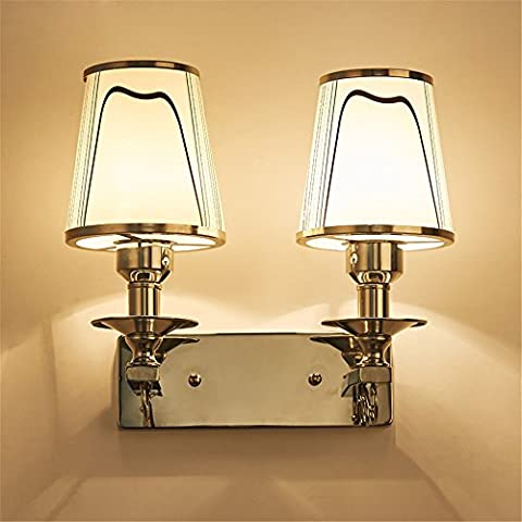 Larsure Vintage Industrial Style Wall Sconce Wall Light Lamp Bedroom bed with double head features glass wall town double wall lamp, 250mm *