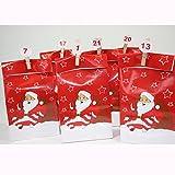 Annastore Adventskalender SANTA mit 24 Tüten zum Selbstbefüllen inklusive 24 Mini-Holzklammer