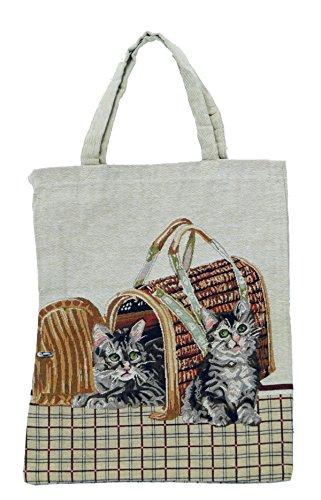 Bowatex Einkaufstasche Beutel Stofftasche Motiv 2 katzen in der Transportbox 40 x 32 cm Shopper Bag Tasche Bistro Gobelin Royaltex Signare Fa -