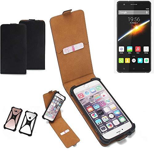 K-S-Trade Flipstyle Case für Cubot S500 Schutzhülle Handy Schutz Hülle Tasche Handytasche Handyhülle + integrierter Bumper Kameraschutz, schwarz (1x)