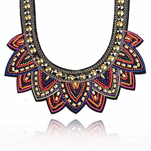 Fabric Colorful Bohemian Acrylic Beads Choker Statement Collar