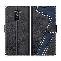 MOBESV Handyhülle für Xiaomi Pocophone F1 Hülle Leder, Xiaomi Pocophone F1 Klapphülle Handytasche Case für Xiaomi Pocophone F1 Handy Hüllen, Modisch Schwarz