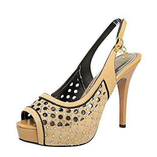 Mee Shoes Damen Slingack high heels Peep toe Sandalen Gelb