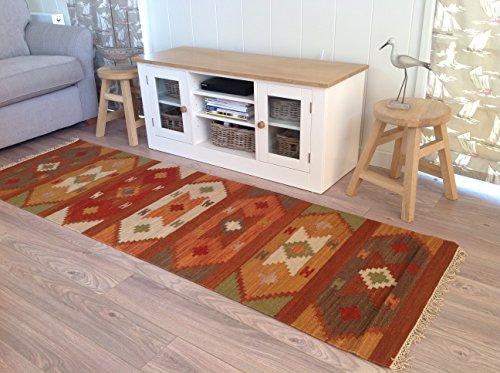Tappeto kilim in stile varanasi geometrico, 75cm x 240cm, arancione e marrone, per commercio equo e solidale