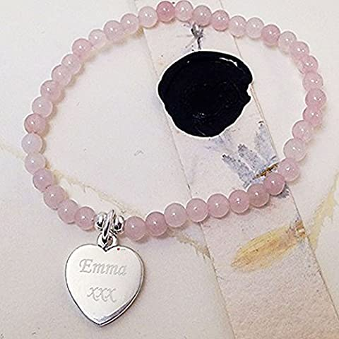 Rosario Style Childrens Bracelet With Pink Beads And Heart Charm