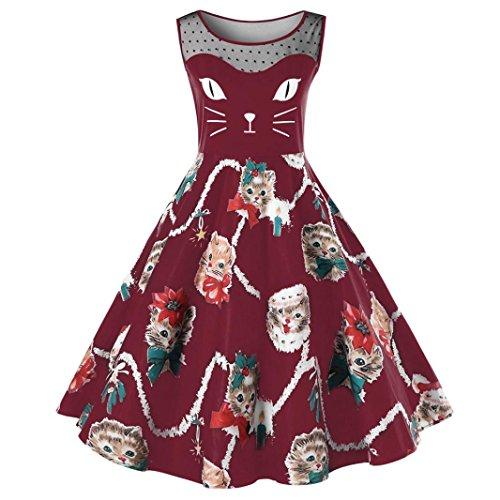 Lenfesh Damen Katze Gedruckt Kleid Kostüm Karneval oder Fasching Cosplay Outfits (L, Wein)