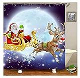 Bishilin Polyester-Stoff Badezimmer Duschvorhang 120x180 Weihnachtsmann Hirsch 3D Duschvorhang Antischimmel