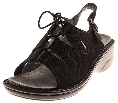 Rohde Sandale Zum Schnüren Sandalette Sommer Damen Nubukleder Schwarz 575590 EU 37