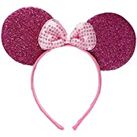 Sparkly Mouse Ears with Bow on Headband/ Aliceband.Hair Accessory-Bright Pink