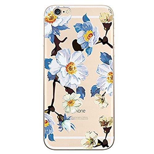 Qissy®3D Case Cover Per Apple iphone 6 6S 4.7 pollici Trasparente TPU Gel Silicone Bumper Protettivo Skin Custodia Ultra-sottile Cartoon Flessibile morbido Protettiva Shell -bei fiori 8