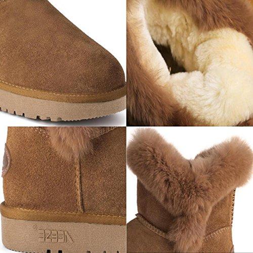 TT&XUEDIXUE Scarpe da donna in pelle / Stivali da neve invernali / Stivali moda Outdoor / Flat Heel Fur Chestnut / Sand color chestnut