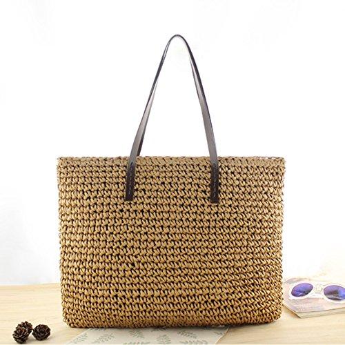 Diafrican Straw Bag Beach Strohtasche Outdoor Rund Strand Stroh Geflochtene Woven Strandtasche Sommertasche Travel Sling Bag Umhängetasche - Hellbraun (Woven Shopper)