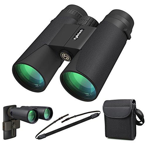 Kylietech Fernglas 12x42 kompakte Ferngläser für Vogelbeobachtung, Wandern, Jagd, Sightseeing, Kleines Fernglas mit Nachtsicht-Funktion.FMC Linse, Tragetasche und Smartphone-Adapter