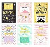 Edition Seidel Set 6 exklusive Premium Geldscheinkarten Geldkarten zum Geburtstag mit Umschlag. Glückwunschkarte Grusskarte Geburtstag Geburtstagskarte Karten Happy Birthday Geld Geschenk (Set 5)
