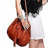 GongzhuMM Sac a Main Bohême Femme Sac a Main Cuir Gland Sac Bandouliere de la Mode Sacs Portés épaule Femme Sac à seau (40cm(L)*28cm(W), marron)