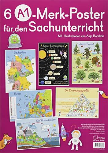 6 A1-Poster für den Sachunterricht – Deutschland, Europa, Wasserkreislauf, Sonnensystem, Bäume, Ernährungspyramide (Merk-Poster)