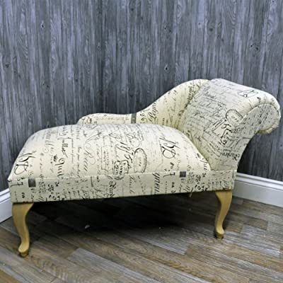 French Vintage Style Cream Linen with Script Calligraphy Print Chaise Longue Sofa