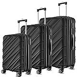 SHAIK Ensemble de 3 valises Trolley- Capacité de 40/78/124 litres- Valise rigide & flexible Bagages cabine à roulettes - sacs de voyage avec poignée télescopique et réglable roulettes rotatives à 360