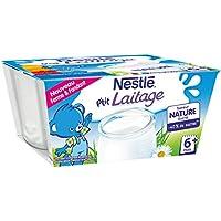 Nestlé Bébé P'tit Laitage Saveur Nature Laitage Dès 12 Mois 4 x 100 g - Pack de 6