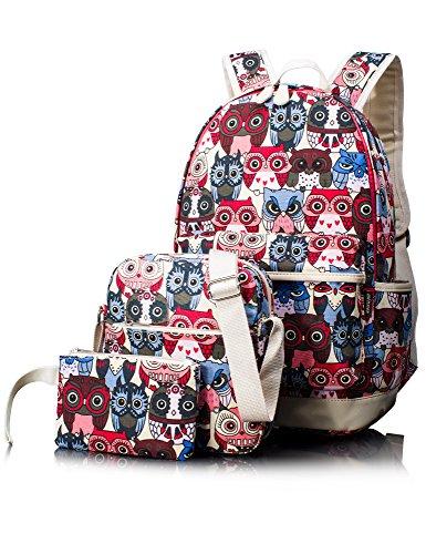 Leaper Cute Owl Pattern School Backpack Set Bookbag Shoulder Bag Pencil Bag 3PCS Red