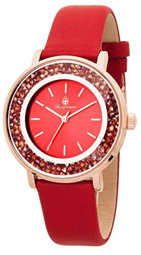 Burgmeister Armbanduhr für Damen mit Analog Anzeige, Quarz-Uhr und Lederarmband - Wasserdichte Damenuhr mit zeitlosem, schickem Design - klassische, elegante Uhr für Frauen - BM537-344 St. Lucia