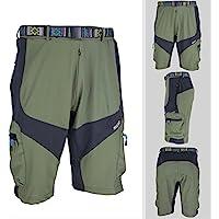 Beautyrain 1 PC Pantalones cortos de bicicleta de montaña al aire libre a campo traviesa Gris/verde del ejército